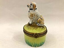 Beautiful Vintage Limoges Rochard Paint Mein Dog Trinket Box