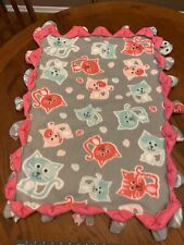 Handmade fleece tie blanket of cats for a small pet Cat Blanket/couch Pad