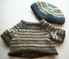 Bear doll hand knitted sweater gray taupe stripes and cap