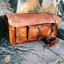 Handmade Rustic Brown Leather Luggage Weekender Overnight Flap Duffel Travel Bag