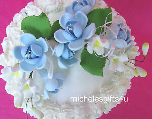 Gum Paste Sugar Pastel Blue Roses Leaves & Ribbon Cake Decorating Flowers