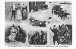 SIX STAGES OF A RUNAWAY WEDDING TO THE BLACKSMITHS SHOP GRETNA GREEN  POSTCARD