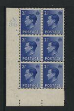 1936 2½d Blue Keviii M/Mint Control Block Of Six. Sg 460
