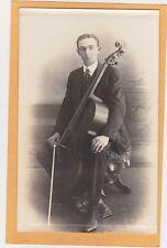 Studio Real Photo Postcard RPPC - Man with Cello - Cellist Musician Music