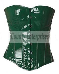 Full Steel Bone Overbust Heavy Lacing Bustier Sexy Fetish Green PVC Vinyl Corset