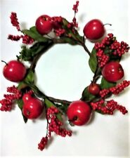 NEW Large Candle Holder/Wreath - Plastic Apples/Berries/Red - LAST ONE!