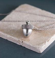 Long Silver Acorn Necklace Locket, Acorn Locket, Acorn Pendant