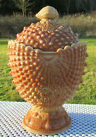 Fenton LG Wright Argonaut Shell Hobnail Covered Candy Dish Chocolate Slag Glass