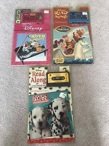 Lot of 3 Disney Read Along Casette Books Hercules Devito Oliver 101 Dalmatians