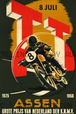 1950 Dutch TT Assen 25th Anniversary Poster Print Image ca 8 x 10 print prent