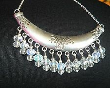HANDCRAFTED UNIQUE STATEMENT COLLAR NECKLACE WITH CRYSTAL DROPS