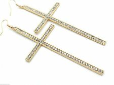 New Oversized Cross Earrings Gold Plated Crystal Dangles 4""