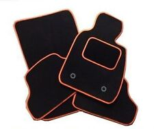 FORD MUSTANG 2015+ TAILORED CAR FLOOR MATS BLACK CARPET WITH ORANGE TRIM