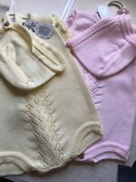Baby Spanish Knitted Romper All in One Lemon Pink Ribbons & Hat Girls 0-18 Mths