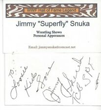 """JIMMY """"SUPERFLY"""" SNUKA SIGNED BUSINESS CARD DECEASED WRESTLING CHAMPION"""