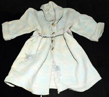 Vintage Blue Plaid Doll Robe with Snap Buttons & Tie Belt for Large Doll