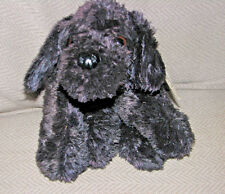 FAO SCHWARZ SCHWARTZ STUFFED PLUSH PUPPY DOG BLACK SILKY BEAN SOFT CUDDLY 12""