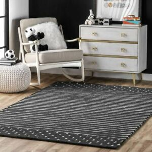 Morse Awning Stripes Charcoal Hand-Tufted 100% Wool Soft Area Rug Carpet