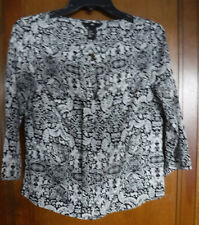 H&M Womens Blouse Size 2 Black White 3/4 Sleeve Floral Print Top keyhole