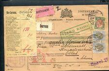 PAKKETKAART 1913 Overveen - Olten CH, combfr BONTKRAAG 67 + 74; REMBOURSEMENT
