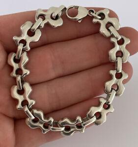 Solid Silver Fine Link Large Heavy Bracelet, 925