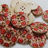 10 Zakka Wood Sewing Buttons - Orange Red Wild Flower - 3cm