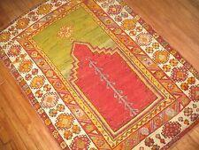 Antique Turkish Melas Oushak Prayer Rug Size 3'5''x4'10'