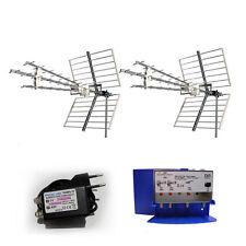 KIT DOPPIA ANTENNA DIGITALE TERRESTRE UHF DVBT 4G LTE AMPLIFICATORE 30 dB 300 mA