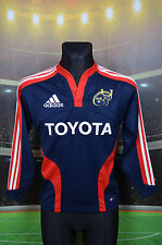 "MUNSTER IRISH RUGBY L/S ADIDAS AWAY SHIRT (BOYS L yL 32/34"" 164) JERSEY TOP NAVY"