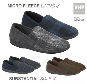 Mens Comfy Tweed Check Warm Slippers Full Slip On Slipper Size 7 8 9 10 11 12