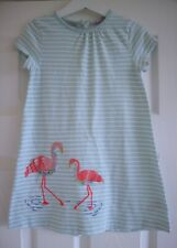 Baby Boden Green & White Stripe Applique Embroidered Flamingo Dress 3-4 Years