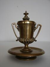 Antique Victorian Collectible Bronze Inkwell Hinged Lid w/finial original insert