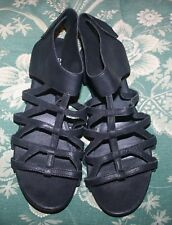 Eileen Fisher Nest Cage Black Leather Gladiator Flat Sandals Size 9