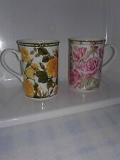 2 Tea Coffee Cups Fine Bone China Collector Series of Six Designs Roses Thailand
