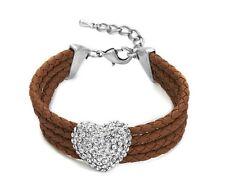 Multi Row Brown Braided Cords & Silver Diamante Heart Charm Bracelet Wristband