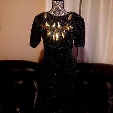 Black Beaded Gold Sequin Silk Cocktail Dress Evening in Style NEW NWT sz Small S