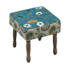 Upholstered Floral Print Stool With Wooden Legs By All Chic