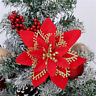 Christmas Tree Decorations Artificial Flowers Xmas Glitter Flower Hanging S