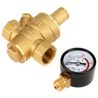 DN15 Messing Druckregler Einstellbar Druckminderer Druckventil mit Manometer
