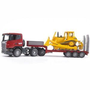 BRUDER 03555 SCANIA R-Serie LKW mit Tieflader und CAT Bulldozer