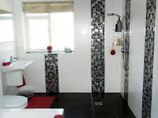 Modular Black Chrome Brushed Mosaic Tiles Bathroom Kitchen Sheets 30 x 30 cm