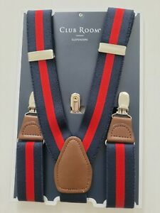 Club Room Mens One Size Navy Red or Gray Stripe Suspenders