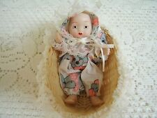 Vintage Artmark Small Porcelain & Cloth Baby Doll w/ Lace Trim Basket ~ Adorable