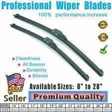 "24"" + 17"" Windshield Wiper Blades Premium OEM Quality J-Hook Blades Bracketless"