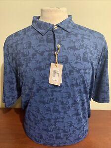 Peter Millar Crown Sport Carl Guitar Camo mens XL Navy Blue Golf Polo Shirt NWT
