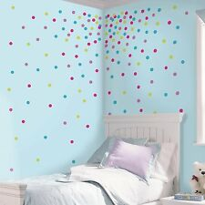 CONFETTI GLITTER POLKA DOTS 180 Wall Decals Blue Pink Room Decor Stickers 2712