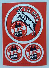 1. FC Köln Sticker Aufkleber 3 teilig / Postkarte - 2 x Ø 4,5 cm + 1 x Ø 9 cm