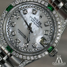 Women's Rolex 31mm Datejust Watch White MOP Emerald Diamond Dial Jubilee Band