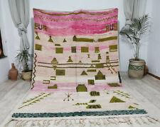 Boujad Vintage Handmade Moroccan Rug 6'5x9' Berber Tribal Pink Wool Abstract Rug