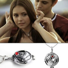 Elena's Vervain Antique Silver Locket Vintage Fashion Vampire Diaries Necklace